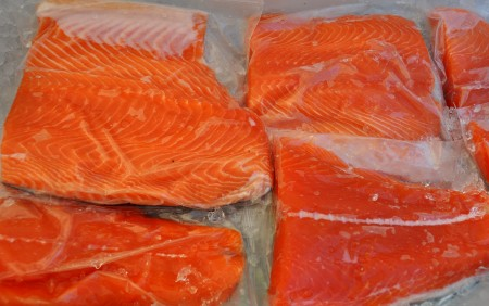 Fresh Washington coastal red king salmon from Wilson Fish. Photo copyright 2012 by Zachary D. Lyons.