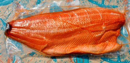 Whole side of smoked wild Washington king salmon from Wilson Fish. Photo copyright 2013 by Zachary D. Lyons.