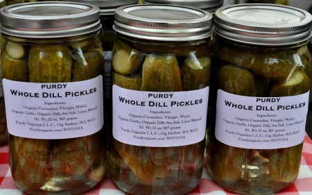 Whole dill pickles from Purdy Pickle at Madrona Farmers Market. Copyright Zachary D. Lyons.