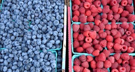 Blueberries & raspberries from Hayton Farms. Copyright Zachary D, Lyons.