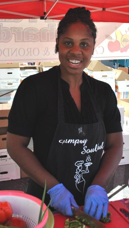 Lillian from Simply Soulful performing a cooking demonstration at Madrona Farmers Market. Copyright Zachary D. Lyons.