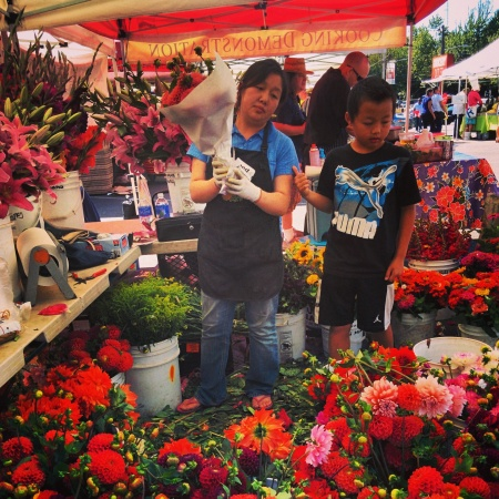 Yeng Garden.  The Yeng Family working hard at bringing their beautiful flowers   to Madrona Farmers Market